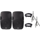 Gemini AS-08P Powered Speaker Pair w/ Stands & Covers