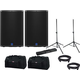 Turbosound iQ15 Powered Speakers Pair w/ Stands & Totes