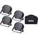 Solena Max Par 54 RGB Wash Light 4-Pack w/ Tote Bag