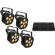 Chauvet EZlink Par Q6 BT Wash Light 4-Pack w/ Battery-Powered Footswitch