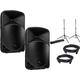 Behringer B15X 15-inch Powered Speaker Pair with Gator Stands & XLR Cables