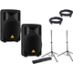 Behringer B210D Powered Speakers with Gator Stands