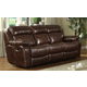 Homelegance Marille Double Reclining Sofa with Center Drop-Down Cup Holders in Brown 9724PM-3
