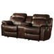 Homelegance Marille Double Glider Reclining Love Seat with Center Console in Brown 9724PM-2