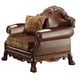 Acme Dresden Bycast Leather-Chenille Chair in Cherry 15162