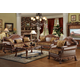 Acme Dresden Bycast Leather-Chenille Living Room Set  in Cherry