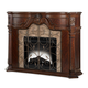 AICO Windsor Court 2pc Fireplace w/Insert, Heater and LED Lights in Vintage Fruitwood