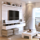 Manhattan City 2.2 Floating Wall Theater Entertainment Center in White Gloss 25252
