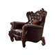 Acme Versailles Chair w/ 2 Pillows in D.Brown PU & Cherry Oak 52122A