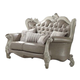 Acme Versailles Loveseat w/ 4 Pillows in Vintage Gray PU & Bone White 52126A