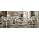 Acme Versailles 2-Piece Living Room Set in Vintage Gray PU & Bone White