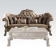 Acme Versailles 2-Piece Living Room Set in Bone Velvet & Gold Patina