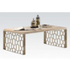 Acme Portia Coffee Table in Weathered Light Oak/Stainless Steel 83810
