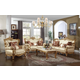Meridian Bennito 2 Piece Living Room Set in Pearl/Rich Gold