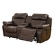 Homelegance Furniture Marille Double Glider Reclining Loveseat w/ Center Console in Brown 9724BRW-2