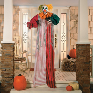 Hanging Clown With Light Up Eyes Halloween Decoration