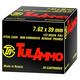 Tula Centerfire Rifle 7.62X39mm FMJ 122gr 100rd