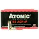 ATOMIC Defense Handgun Ammo 45 ACP P 185 Grain Bonded Match Hollow Point 50 rd per box