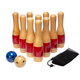 Indoor/Outdoor Lawn Bowling & Skittle Ball Game Set with 11