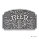 Personalized Quality Craft Beer Arch Plaque - Pewter / Silver