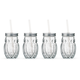 Hoot Owl Glass Drinking Jars with Lid & Straw - 15 oz - Set of 4