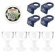 CoronaRita Party Pack - Set of 4 Blue Drink Clips, 4 Schooner Glasses & Rim Salt