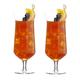 Viski Raye Angled Crystal Footed Hurricane Glasses - 14 oz - Set of 2
