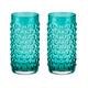 Hobnail Vintage Style Tumbler Glasses - Aqua Blue -16 oz - Set of 2