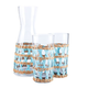 Amanda Lindroth Woven Light Blue Island Raffia Wrapped Carafe & Cooler Glass Set - 3 Pieces