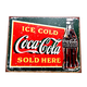 Ice Cold Coca-Cola Sold Here Tin Bar Sign