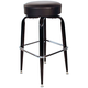 Richardson Round Top Bar Stool - Black Frame - Chrome Footrest