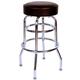 Richardson Round Top Bar Stool - Double Ring - Chrome Frame - Black