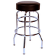 Richardson Round Top Bar Stool - Double Ring - Chrome Frame