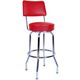 Richardson Bar Stool with Seatback - Single Ring - Chrome Frame
