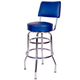 Richardson Bar Stool with Seatback - Double Ring - Chrome Frame