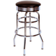 Richardson Retro Round Top Bar Stool - Chrome Frame