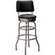 Richardson Retro Style Bar Stool with Seatback - Chrome Frame