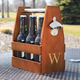 Personalized Wooden Craft Beer Bottle Carrier with Opener