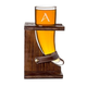 Personalized Glass Drinking Horn with Wood Stand - 16 oz