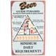 Beer Food Pyramid Metal Bar Sign