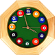 Billiards Octagonal Wooden Wall Clock