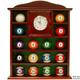 Billiard Ball Holder Quartz Clock Wooden Shelf