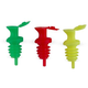Pour & Seal Free-Flow Liquor Bottle Pourers with Lid - Pack of 12 - Assorted Neon Colors