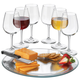 Libbey Wine Service Set - 6 Wine Glasses with Platter & Cheese Knife - 8 Pieces