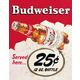 Budweiser 25 Bottle Metal Bar Sign