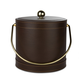 Brown Leatherette Ice Bucket with Stitching - 3 Quarts