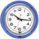 Retro Double Ring Neon Chrome Wall Clock - Blue