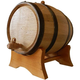 Oak Beverage Dispensing Barrel with Black Steel Bands - Satin Finish - 10 Liter