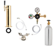 1 Faucet Tower Kegerator Conversion Kit - Brass Tower - Low Profile US Sankey D System - 5lb CO2 Tank