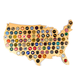 Hanging Wooden USA Beer Cap Map - 24